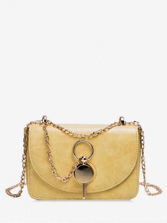 best Key Buckle PU Leather Crossbody Bag - YELLOW