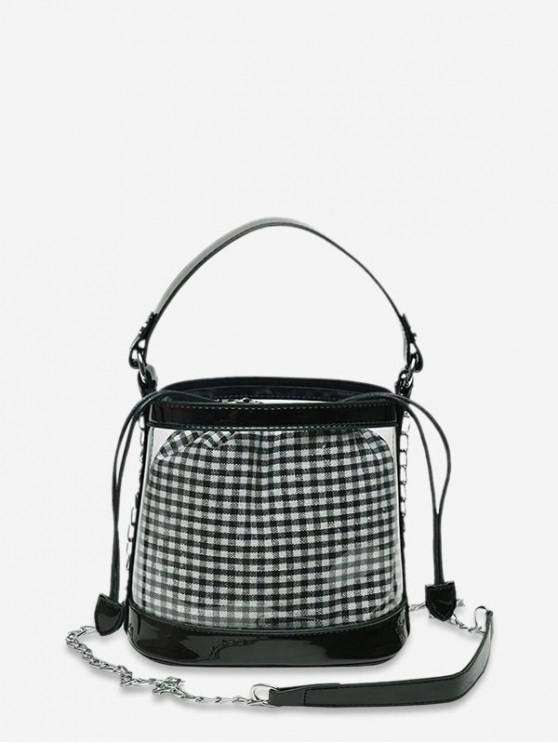 online Grid Pattern Transparent Bucket Shoulder Bag - BLACK