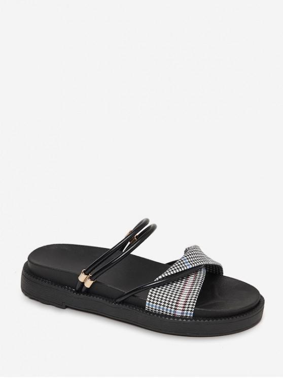 lady Houndstooth Printed Leisure Sandals - BLACK EU 40