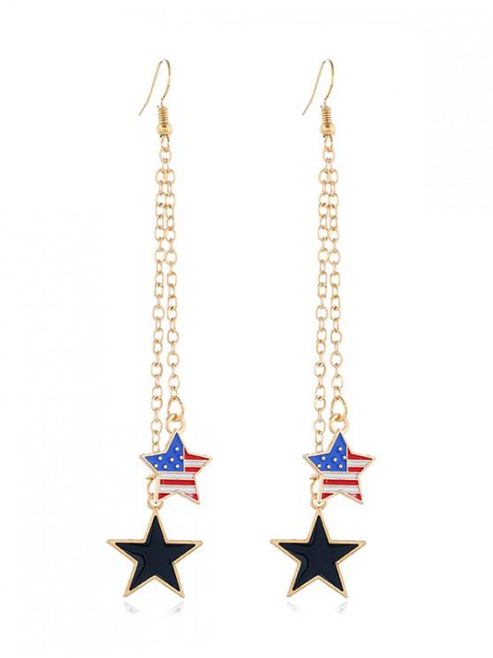 lady Alloy American Flag Star Drop Earrings - GOLD