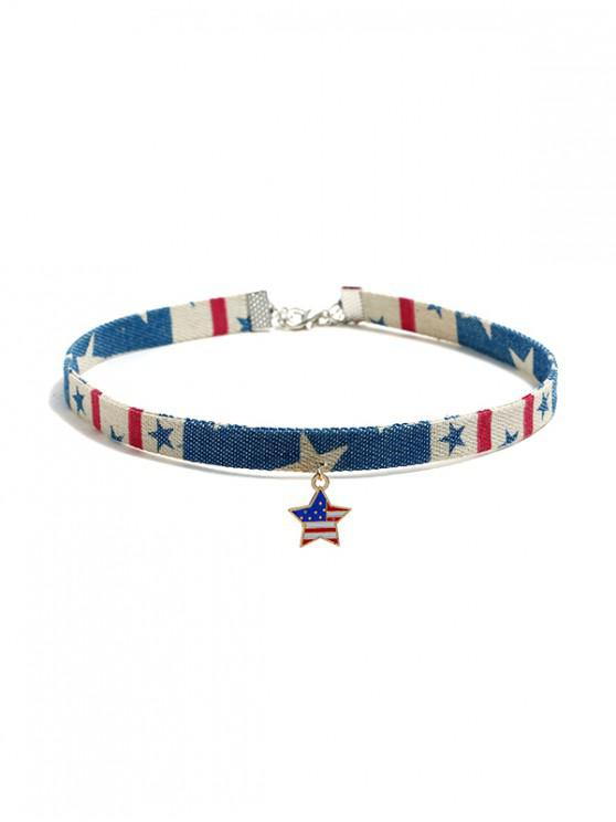 best Flag Pattern Jeans Choker Necklace - MULTI-A