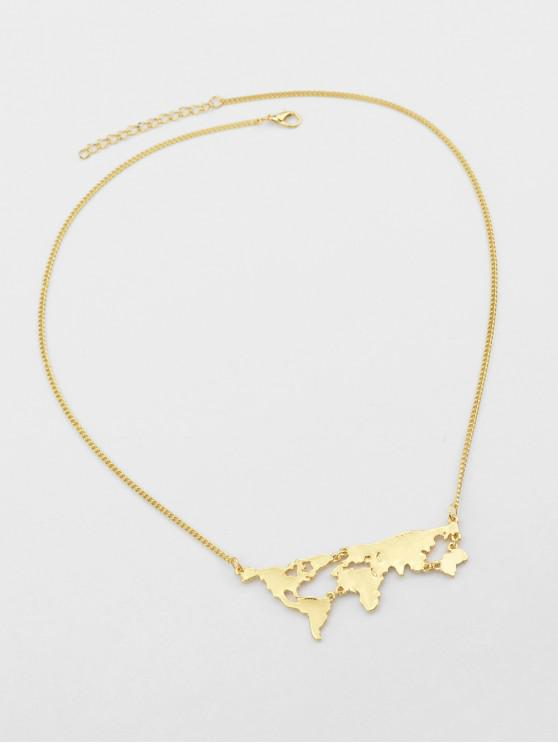 online Map Design Alloy Necklace - GOLD