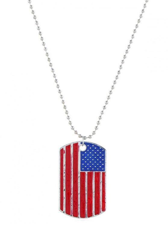 outfits Vintage American Flag Pendant Necklace - SILVER