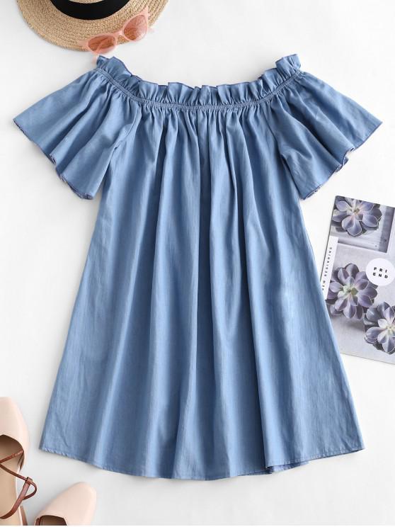 unique ZAFUL Frilled Off Shoulder Short Chambray Dress - BLUE GRAY L