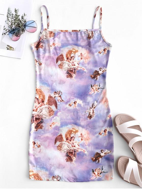 fashion Angel Print Spaghetti Strap Sheath Dress - MULTI-A L