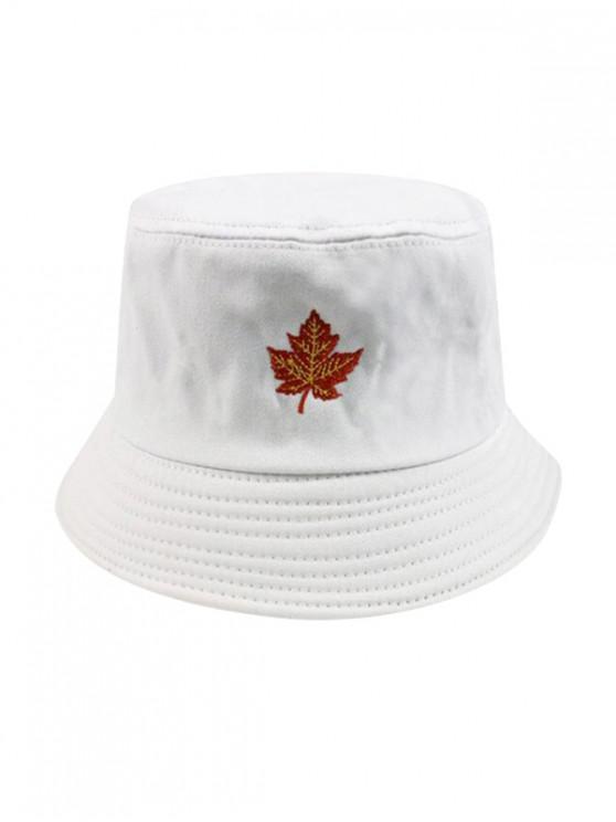 Sombrero del cubo del bordado de la hoja de arce - Blanco