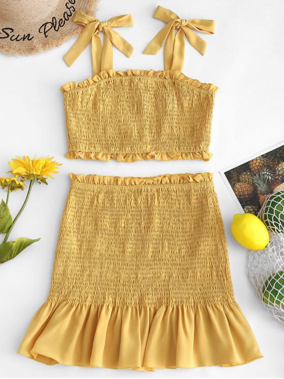 lady ZAFUL Tie Shoulder Smocked Top and Flounce Skirt Set - GOLDEN BROWN M