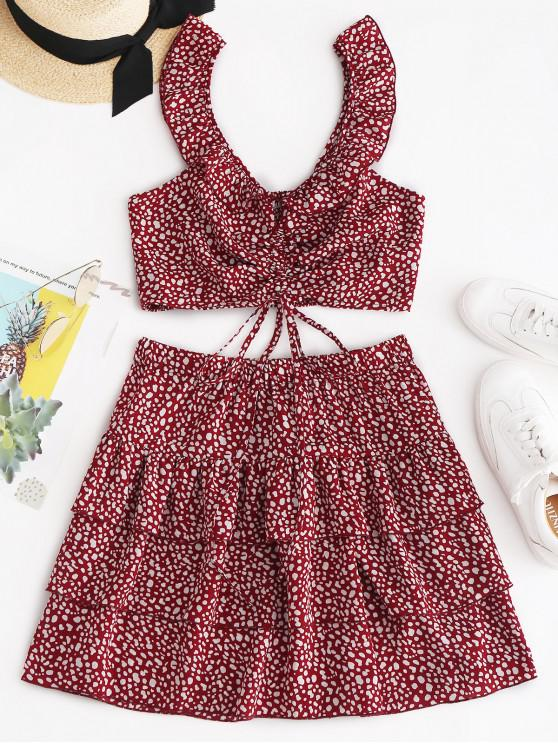 women ZAFUL Leopard Smocked Ruffle Tiered Skirt Set - CHESTNUT RED M