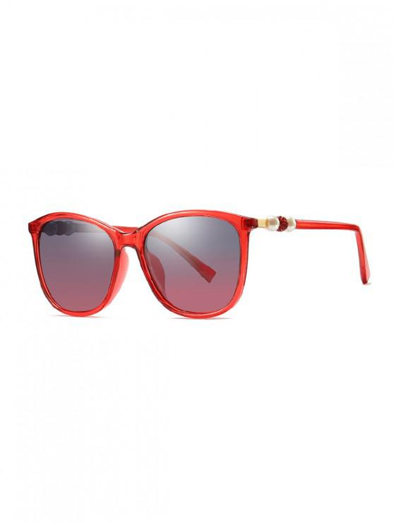 hot Faux Pearl Design Outdoor Sunglasses - BEAN RED