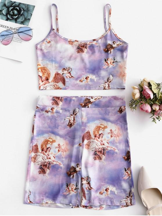 lady Angel Print Crop Cami Top and Shorts Set - MULTI-A M