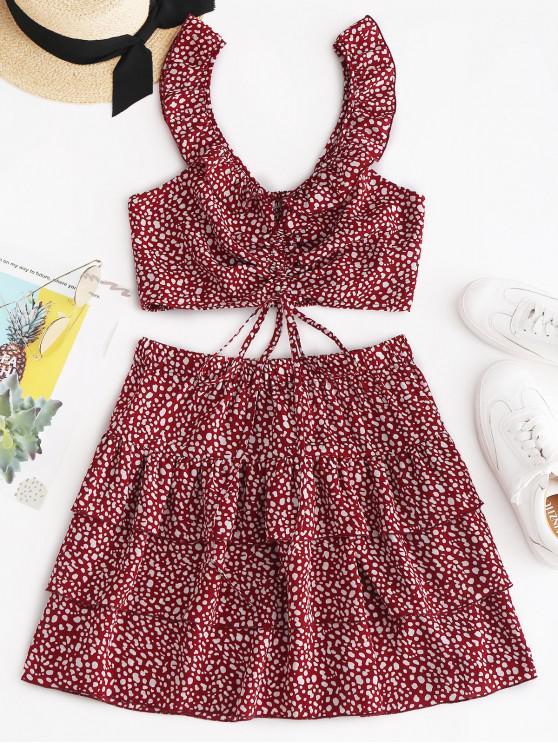 shop ZAFUL Leopard Smocked Ruffle Tiered Skirt Set - CHESTNUT RED L