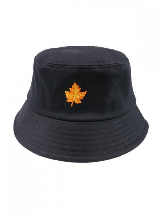 fashion Maple Leaf Embroidery Bucket Hat - BLACK