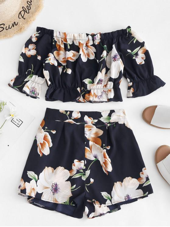 chic ZAFUL Cropped Floral Off Shoulder Top And Shorts Set - DARK SLATE BLUE M