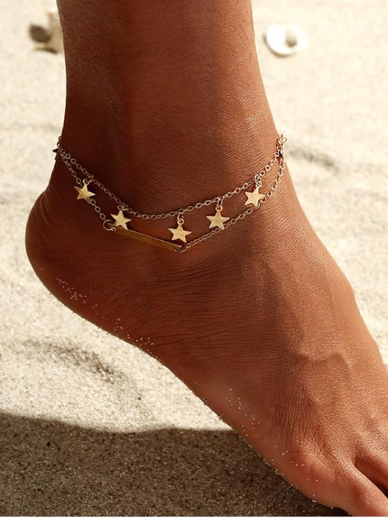 fancy Alloy Star Layered Beach Anklet - GOLD
