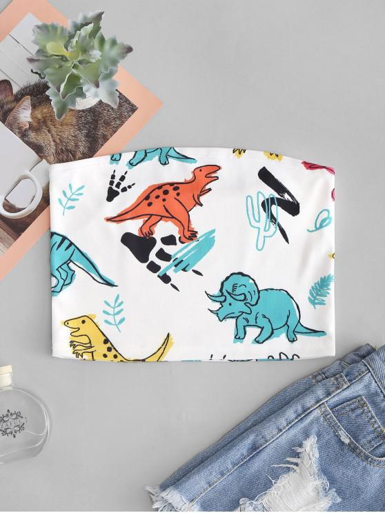 hot Cute Dinosaur Print Bandeau Top - WHITE L