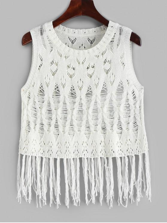 trendy Fringed Cable Knit Crochet Top - WHITE ONE SIZE