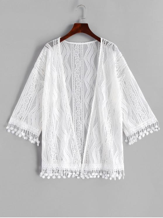 fashion Lace Drop Shoulder Fringed Cover Up - WHITE ONE SIZE
