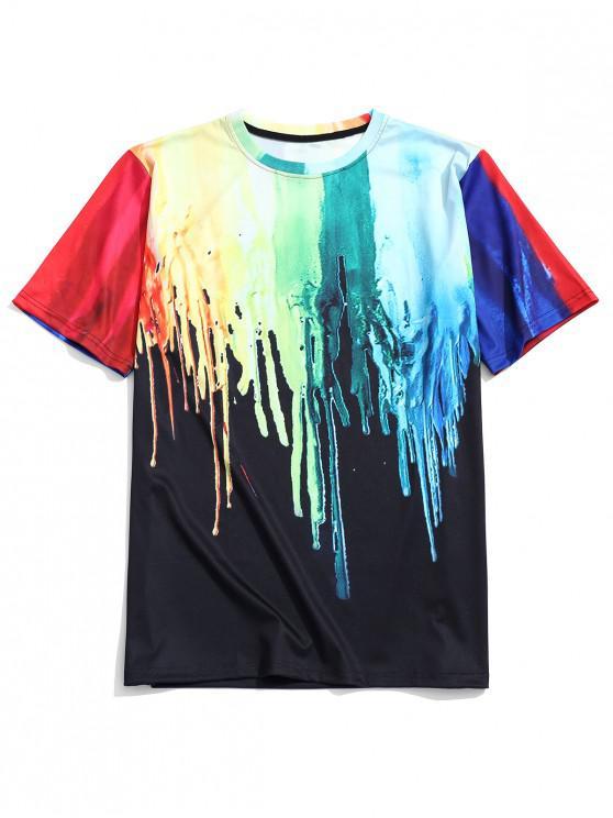 ladies Splatter Painting Print Crew Neck T-shirt - MULTI XL
