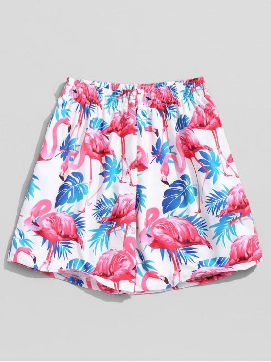 Short de Plage Hawaïen Flamant et Plante Tropicale Imprimés - Multi XL