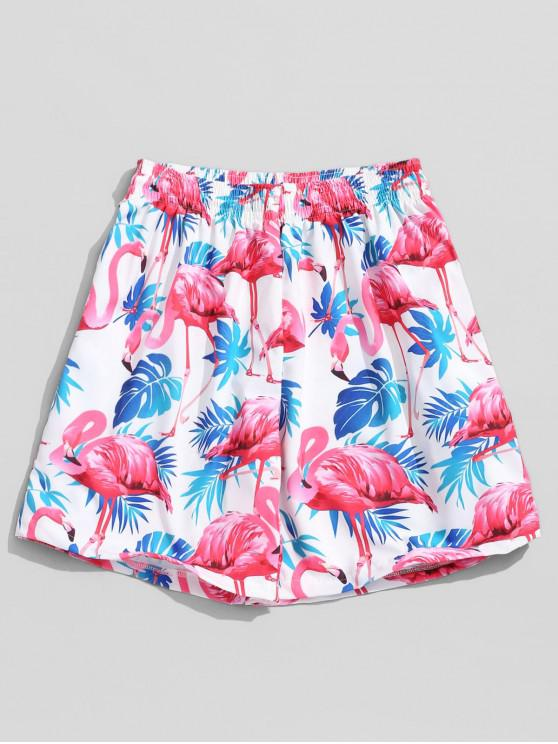 unique Tropical Plant Flamingo Print Hawaii Board Shorts - MULTI 2XL