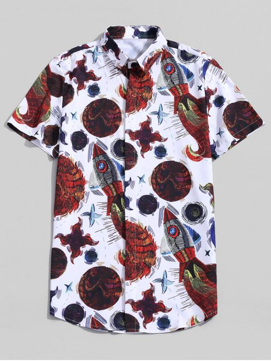 trendy Abstract Fish Pattern Print Button Shirt - WHITE M