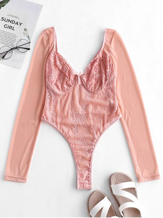 كم طويل BOWKNOT عالية الساق الملابس الداخلية تيدي - خنزير وردي M