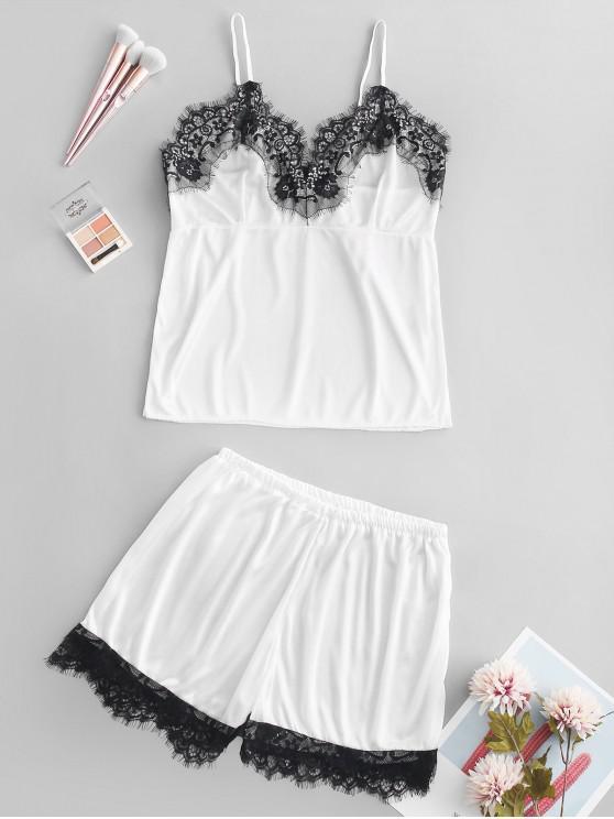 Conjunto de pijama con panel de encaje de pestañas - Blanco Talla única
