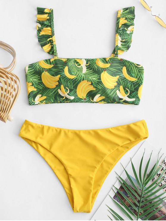 shops ZAFUL Banana Ruffle Mix and Match Bikini Swimsuit - RUBBER DUCKY YELLOW S