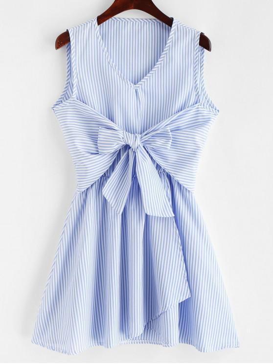 lady V Neck Striped Tie Front Sleeveless Dress - LIGHT BLUE L