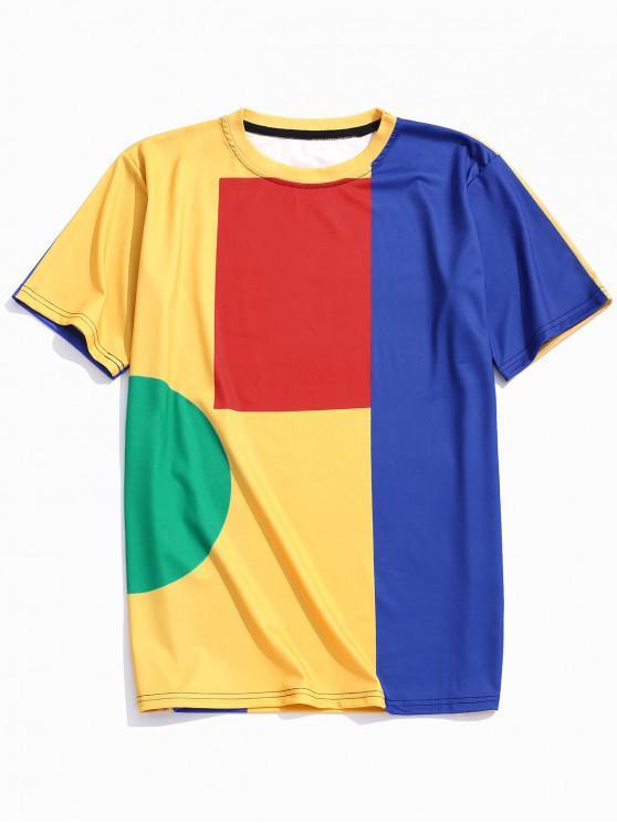 outfit Geometric Color Block Panel Crew Neck T-shirt - MULTI L
