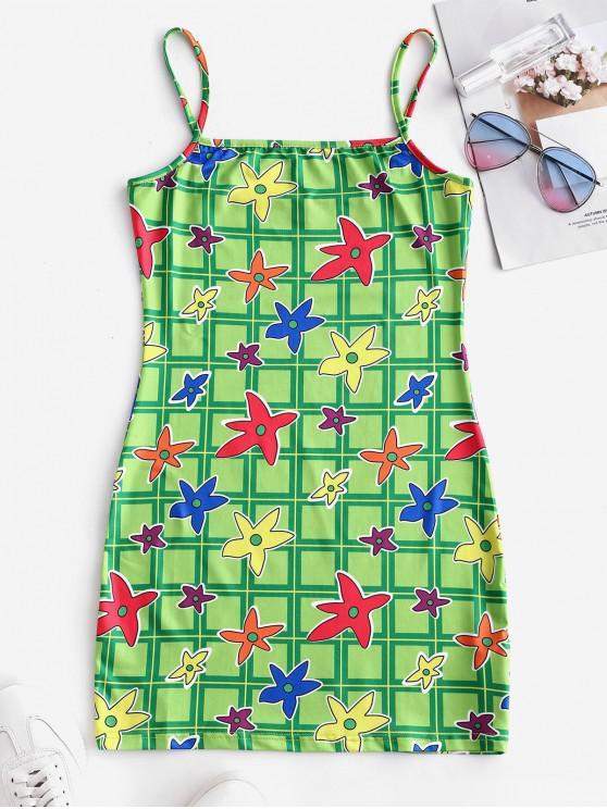 hot Plaid Floral Print Sheath Cami Dress - GREEN SNAKE L