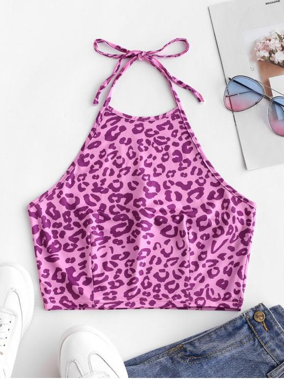 online Leopard Print Crop Halter Top - LILAC S