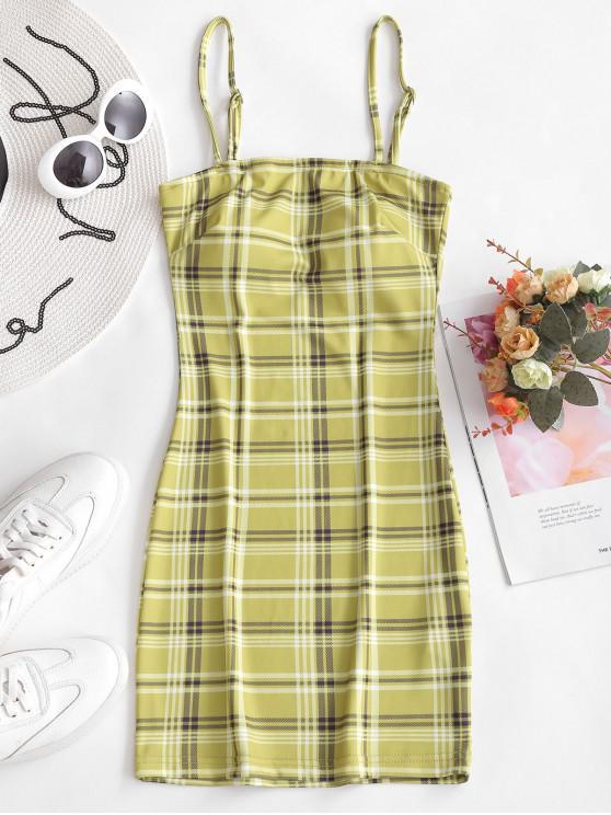 Vestido ajustado de la tela escocesa del Cami - Té Verde L