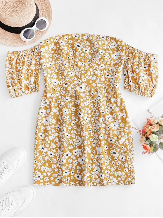 fashion ZAFUL Off Shoulder Ditsy Floral Fitted Dress - GINGER BROWN L