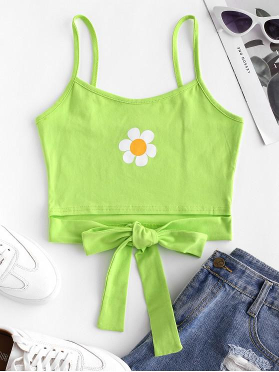 women Flower Print Knotted Neon Cami Top - GREEN YELLOW M
