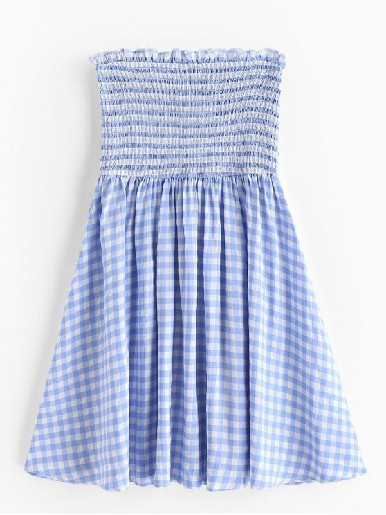 fancy ZAFUL Plaid Smocked Strapless Dress - DENIM BLUE L