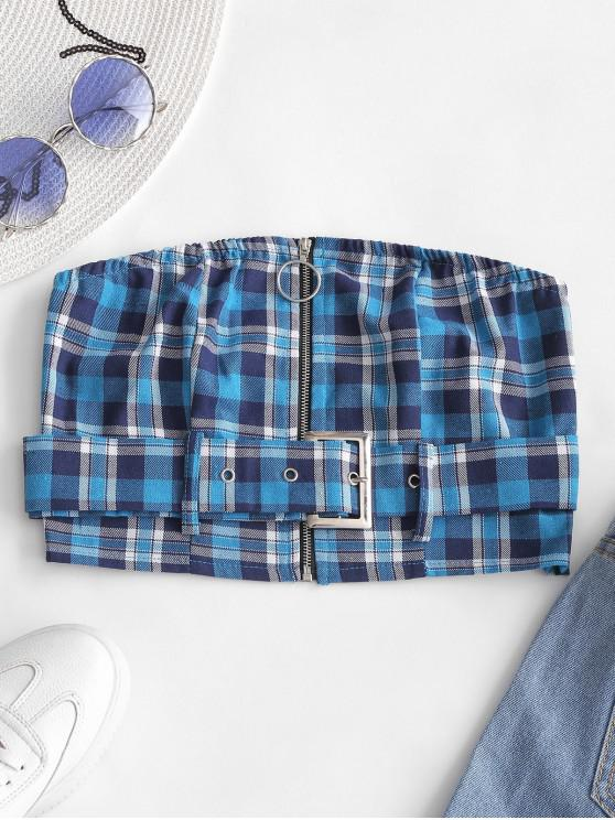 ladies Zip Front Plaid Belted Strapless Top - BLUE IVY S
