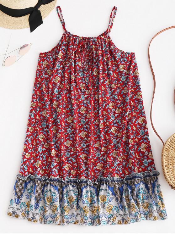 ZAFUL Cami Floral Mini Vestido Boho con volantes - Rojo M