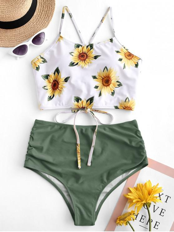 outfit ZAFUL Crisscross Ruched Sunflower Tankini Set - CAMOUFLAGE GREEN XL