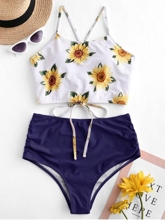 shop ZAFUL Crisscross Ruched Sunflower Tankini Set - LAPIS BLUE M
