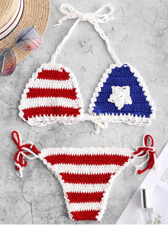 unique Tie Side American Flag Crochet Bikini Swimsuit - MULTI-A ONE SIZE