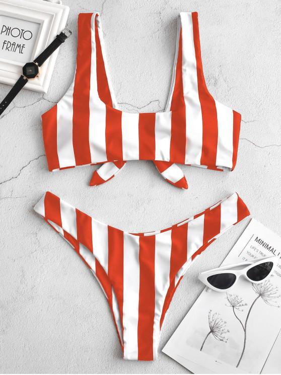 chic ZAFUL Knot Striped Bikini Set - BRIGHT ORANGE L
