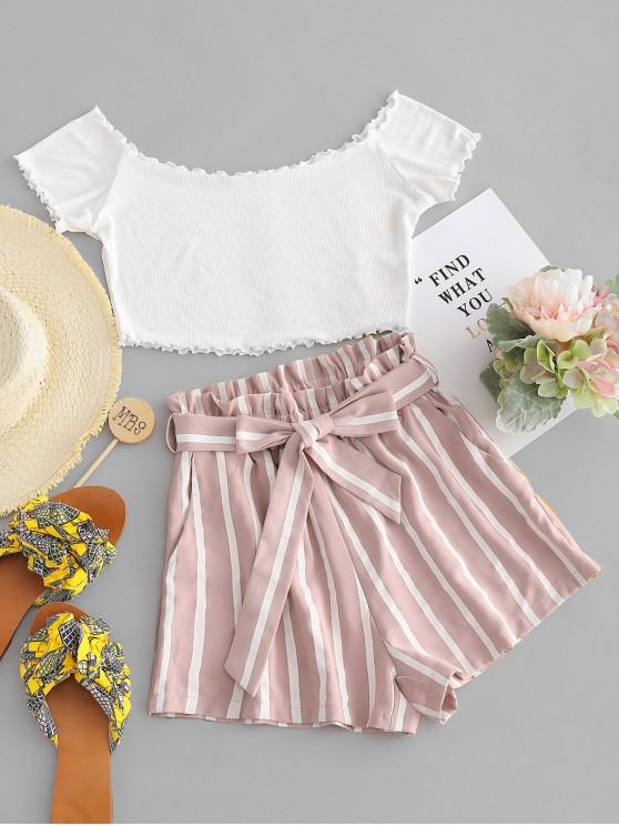 outfits ZAFUL Off Shoulder Top And Stripes Shorts Set - MULTI-C M
