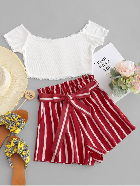trendy ZAFUL Off Shoulder Top And Stripes Shorts Set - MULTI-A L