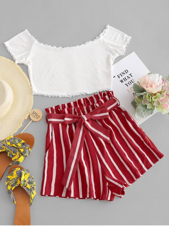 ladies ZAFUL Off Shoulder Top And Stripes Shorts Set - MULTI-A M