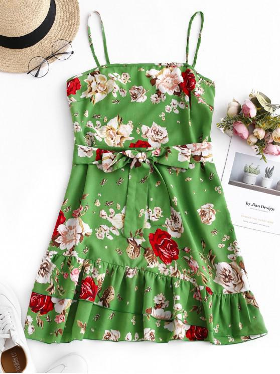new ZAFUL Flounce Cami Flower Belted Dress - SEA TURTLE GREEN M