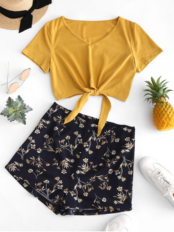 buy ZAFUL Tie Hem V Neck Floral Shorts Set - BEE YELLOW M