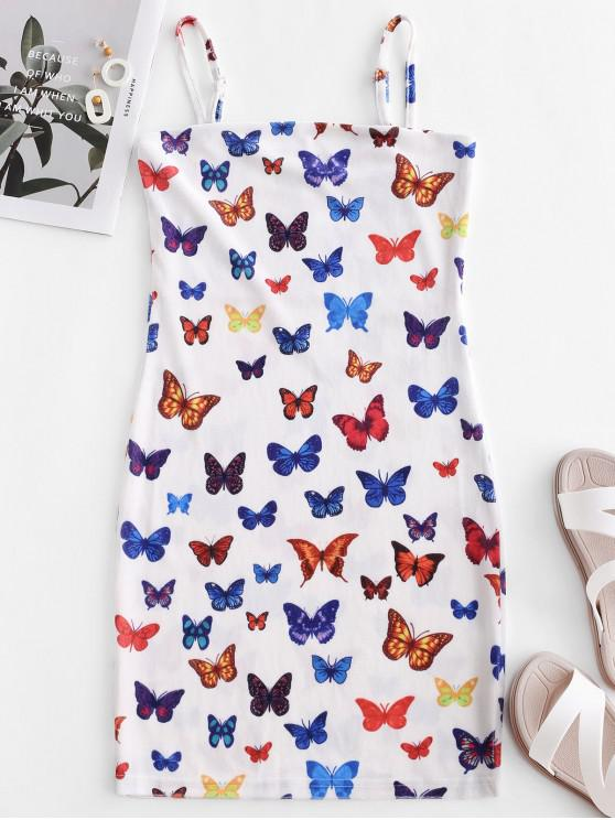 Robe à Bretelle Papillon Imprimé en Velours - Blanc L