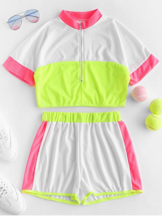 fancy Half Zip Breathable Contrast Neon Shorts Set - MULTI-A L