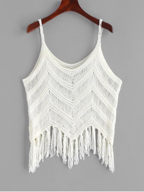 fashion Fringed Zigzag Crochet Tank Top - WHITE ONE SIZE